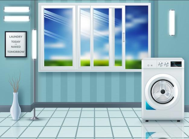 Lavanderia com máquina de lavar e secar roupa