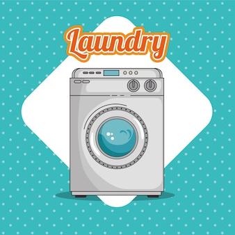 Lavanderia com máquina de lavar roupa e roupas