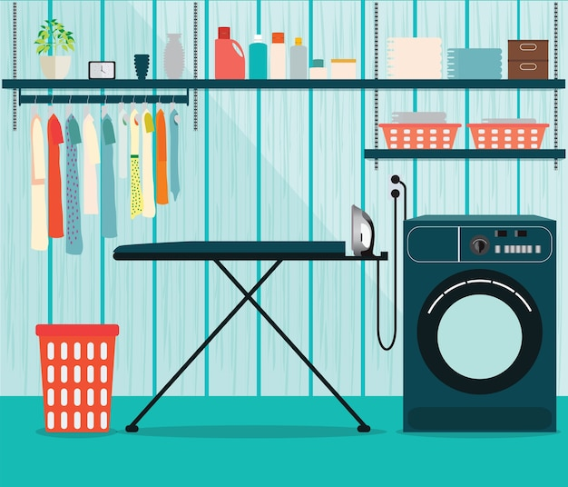 Lavanderia com máquina de lavar roupa