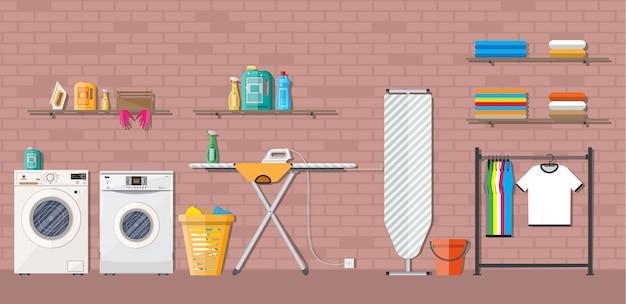 Lavanderia com máquina de lavar