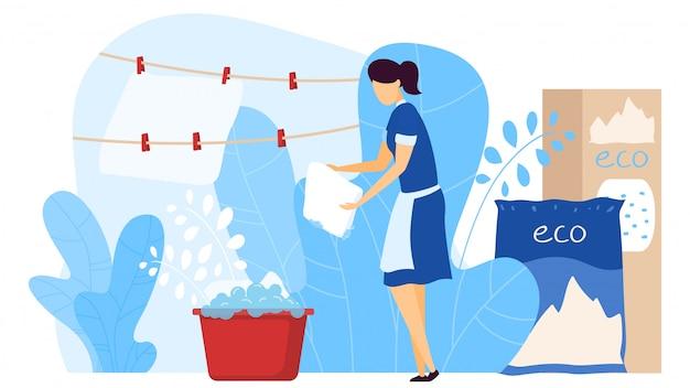 Lavanderia do pessoal do hotel e limpeza, agente de lavagem amigável do eco, isolado na ilustração branca, lisa. toalha de motel de lavagem feminina, pano.