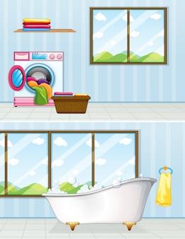 Lavanderia e banheiro