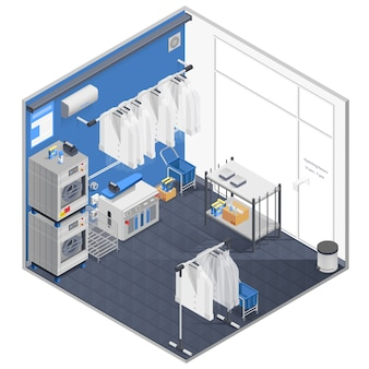Lavanderia e conceito de limpeza a seco isométrica
