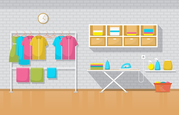 Lavanderia lavadora de roupas lavadas ferramentas de lavanderia interiores modernos