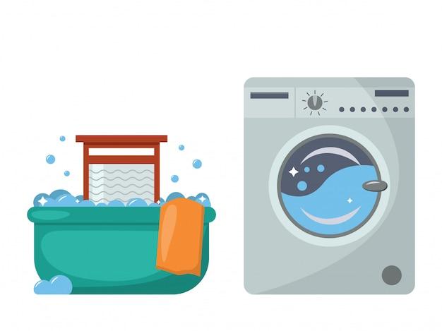 Lavanderia no passado e agora. bacia para lavar e lavar a placa, uma máquina de lavar moderna.