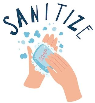 Lavando as mãos com sabão sanitize conceito de higiene dia global plano da lavagem das mãos Vetor Premium