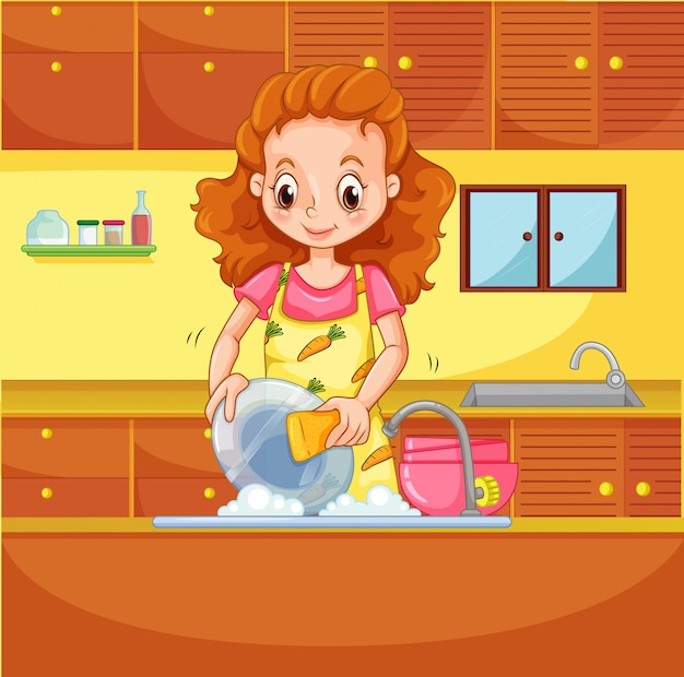 Lavando louças