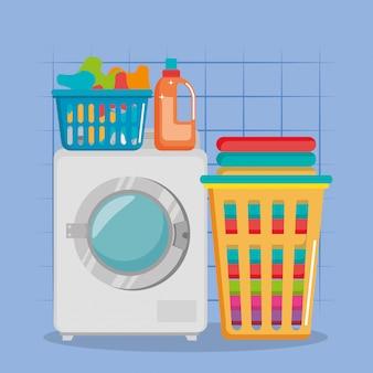 Lavar a máquina com ícones de serviço de lavandaria