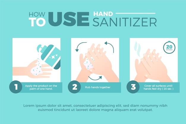 Lavar as mãos adequadamente infográfico com desinfetante para as mãos