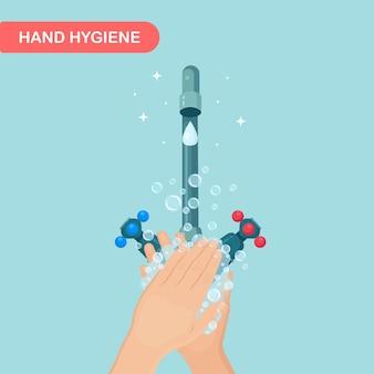 Lavar as mãos com espuma de sabão e bolhas de gel