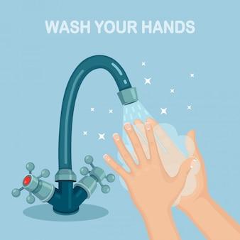 Lavar as mãos com espuma de sabão, esfregar, bolhas de gel