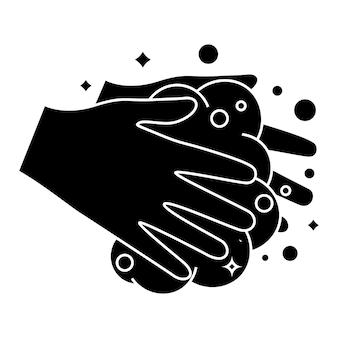Lavar as mãos com espuma de sabão. lave as mãos, ícone. ícone de glifo do procedimento de lavagem das mãos. fundamentos de higiene todos os dias. ilustração vetorial isolada em fundo branco