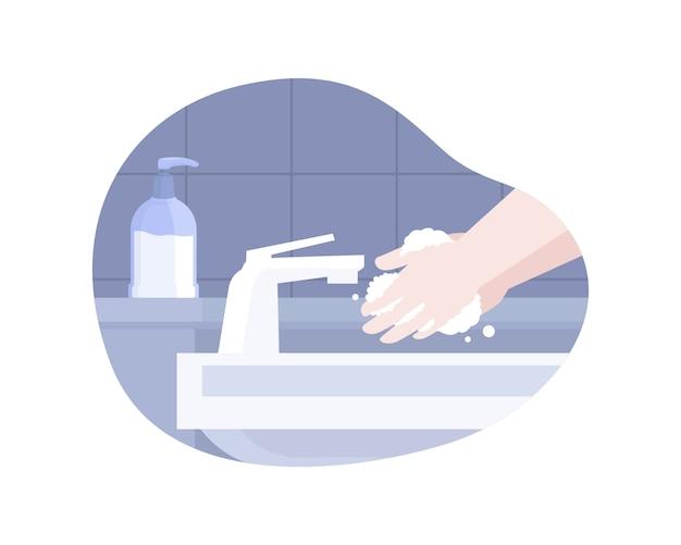 Lavar as mãos com ilustração de sabão