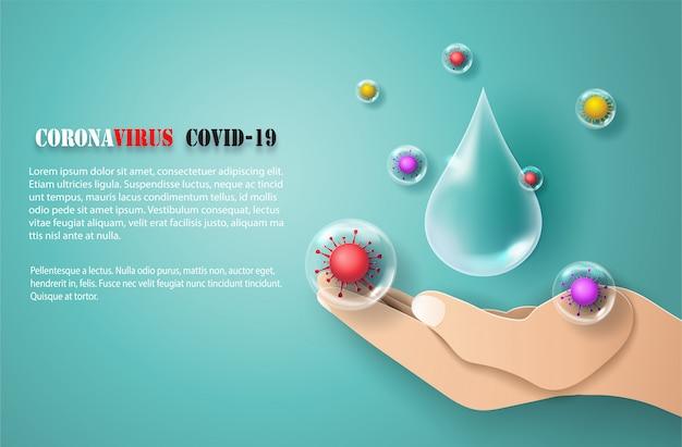 Lavar as mãos com sabão para evitar a propagação do covid-19, arte em papel e estilo artesanal