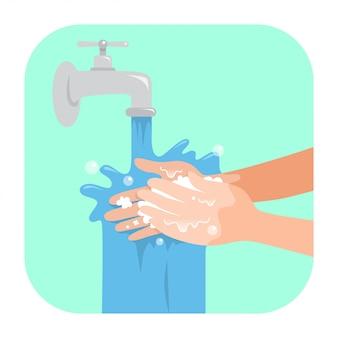 Lavar as mãos com sabão
