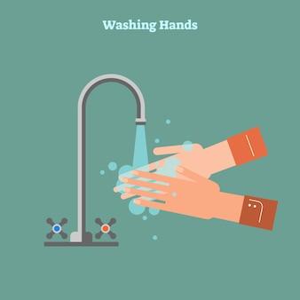 Lavar as mãos conceito ilustração em vetor plana