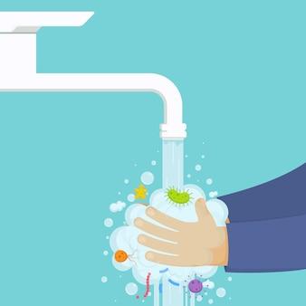 Lavar as mãos debaixo da torneira com sabão, conceito de higiene