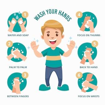Lavar as mãos para cuidados pessoais diários com o menino