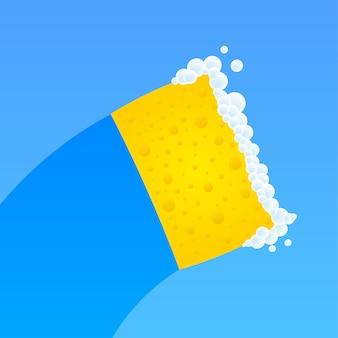 Lavar louça, lavar louça. detergente líquido, loiça e esponja amarela.