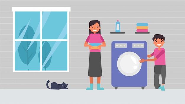 Lavar roupas amantes de passatempos atividades casais passam juntos, ilustração