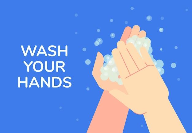 Lave as mãos, banner de informações.
