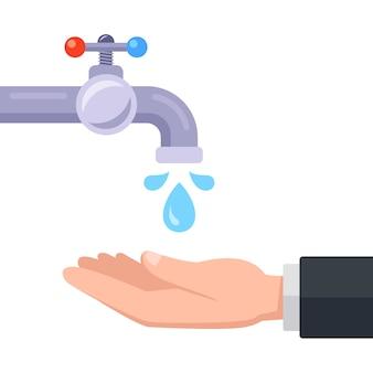 Lave as mãos com água da torneira. ilustração.