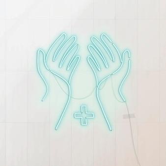 Lave as mãos com frequência para evitar o ícone de néon pandêmico de coronavírus