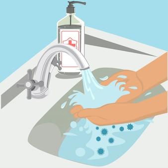 Lave as mãos com ilustração desinfetante