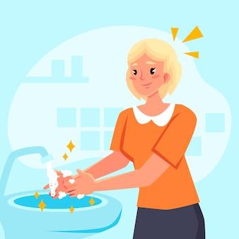 Lave as mãos design desenhado à mão
