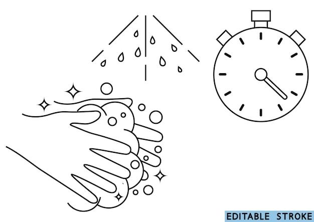 Lave as mãos durante 30 segundos com sabão em água corrente. lave as mãos, ícone. ícone de linha fina de procedimento de lavagem de mãos. traço editável. fundamentos de higiene todos os dias. ilustração vetorial
