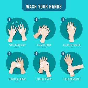Lave as mãos em design plano