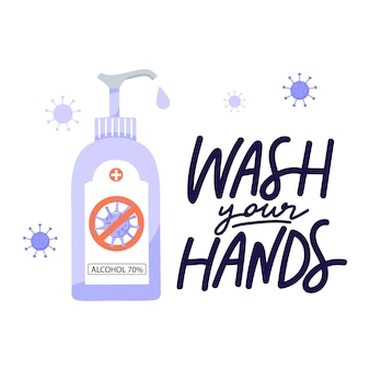 Lave as mãos letras frase.