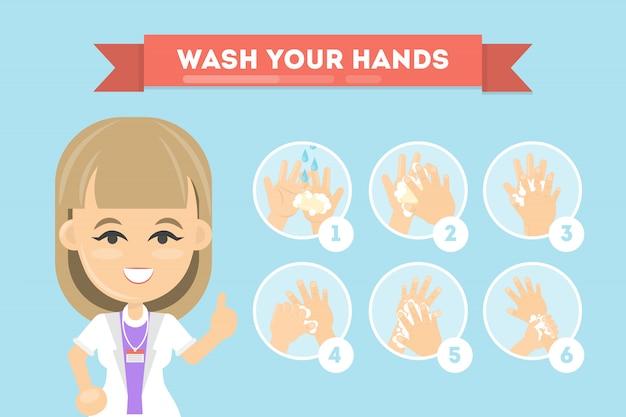 Lave as mãos. manual para limpeza das mãos de bactérias.