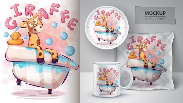 Lave cartaz de girafa e merchandising