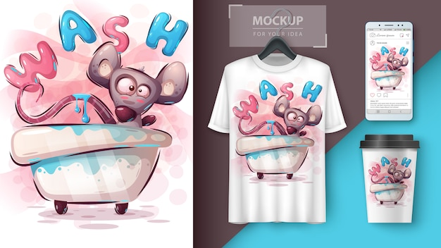 Lave o cartaz do mouse e o merchandising