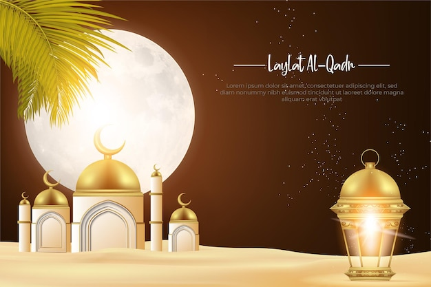 Laylat alqadr noite de decreto, deserto à noite, lua brilhante, lamparina e mesquitas.