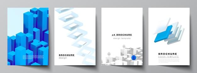 Layout da capa a4 s 3d render composição com formas azuis geométricas realistas dinâmicas em movimento.