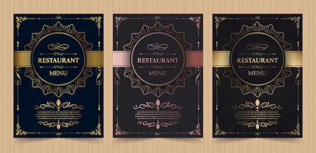 Layout da capa do menu com elementos ornamentais para restaurante de luxo