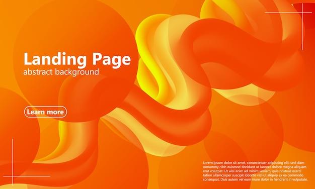 Layout da página de destino da web com design de fluxo abstrato e modelo de texto de amostra