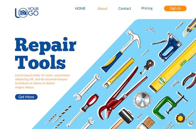 Layout da página de destino das ferramentas de reparo