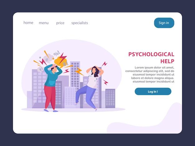 Layout da página de destino para transtornos mentais que oferece ajuda psicológica