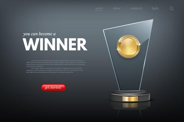 Layout da página do site com prêmio de vencedor realista.