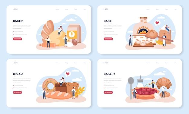 Layout da web de baker ou conjunto de páginas de destino. chef de uniforme assando pão. processo de cozedura de pastelaria. trabalhador de padaria e produtos de pastelaria.