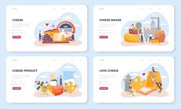 Layout da web do fabricante de queijos ou conjunto de páginas de destino. chef profissional fazendo bloco de queijo. fogão de uniforme profissional, segurando uma fatia de queijo. produção de queijo.