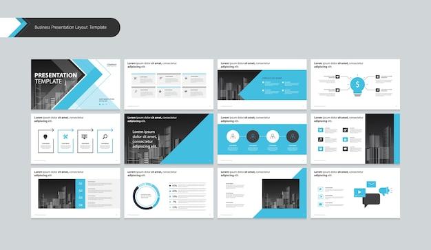 Layout de apresentação de modelo com elementos de infográfico