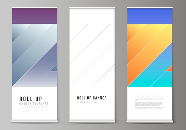 Layout de arregaçar suportes de banner, folhetos verticais
