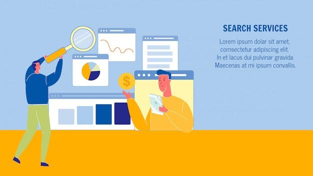 Layout de banner da web dos serviços de pesquisa com espaço de texto