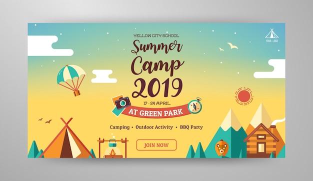 Layout de banner de acampamento de verão