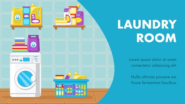 Layout de banner de lavanderia com espaço de texto