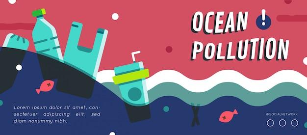 Layout de banner de poluição do oceano